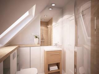 Dom z poddaszem: styl , w kategorii Łazienka zaprojektowany przez Axentim