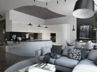 Проект 033: квартира-студия: Гостиная в . Автор – студия визуализации и дизайна интерьера '3dm2', Минимализм