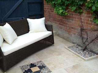 Paving detail & sofa :   by Amy Perkins Garden Design Ltd