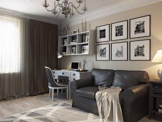 """Кабинет в стиле """"Неоклассика"""": Рабочие кабинеты в . Автор – студия визуализации и дизайна интерьера '3dm2', Классический"""
