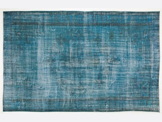 Vintage Handmade Over-Dyed Rug in Blue & Turquoise 010:   by All the hues