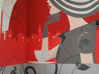DECORAZIONI MURALI PER BAR IL TRAMEZZINO A LIVORNO Negozi & Locali commerciali in stile eclettico di Studio d'Arte Sezione Aurea Eclettico