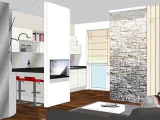 La cucina affacciata sul soggiorno: unire o dividere? Cucina moderna di Forme per Interni Moderno