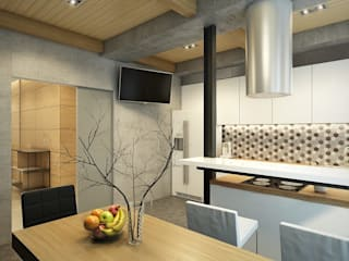 Apartment in Tomsk EVGENY BELYAEV DESIGN ห้องครัว