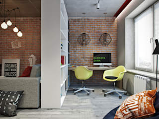 Industrial style study/office by Студия архитектуры и дизайна Дарьи Ельниковой Industrial