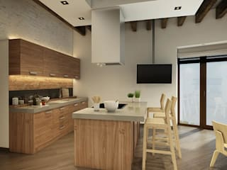 Eco Apartment in Tomsk EVGENY BELYAEV DESIGN ห้องครัว