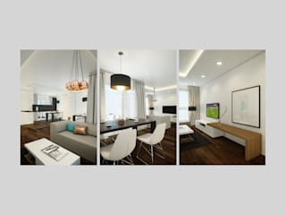 Apartment in Munich EVGENY BELYAEV DESIGN ห้องนั่งเล่น