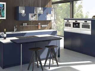 X-ML Lacklaminat indigoblau - Profil X-line glanzweiss: klassische Küche von pronorm Einbauküchen GmbH