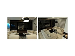 Apartment in Tomsk EVGENY BELYAEV DESIGN ห้องนั่งเล่น