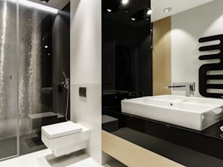 Mieszkanie prywatne 4 pokoje - Nowe Orłowo - Invest Komfort - Gdynia Orłowo: styl , w kategorii Łazienka zaprojektowany przez Anna Maria Sokołowska Architektura Wnętrz ,Minimalistyczny
