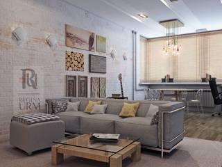Современный интерьер, камин, камень и гитара! Гостиная в стиле лофт от Урм Регина Лофт