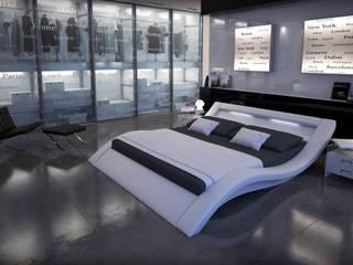 Cama de matrimonio de diseño Calpe en color blanco: moderne Schlafzimmer von homify