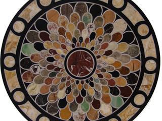 """Mesa redonda de mármol negro """"escamas"""":  de estilo  de Conely"""