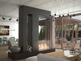Grynevich Architects Minimalist living room