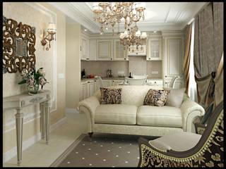 Классика для молодой семьи Гостиная в классическом стиле от Defacto studio Классический