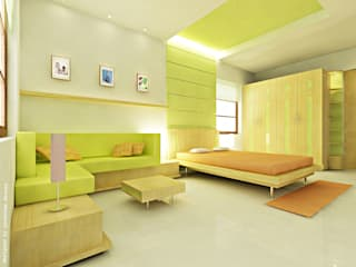 Phòng ngủ phong cách tối giản bởi Preetham Interior Designer Tối giản