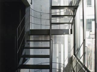 敷地13坪の鉄筋コンクリート造の都市型狭小住宅 モダンスタイルの 玄関&廊下&階段 の スタジオ4設計 モダン