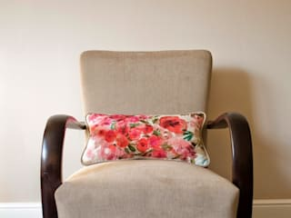 Aliz - Beige mid-century upcycled armchair with flower pattern cushion :   by Modoo Home