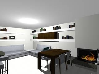 angolo divano con mensole in carton gesso: Soggiorno in stile in stile Moderno di studio design d'interni Frigerio Lisa