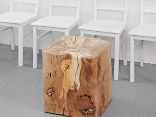 Holzwürfel mit Sitzmulde Holzgeschichten WohnzimmerHocker und Stühle