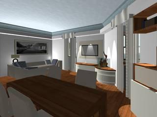 soggiorno con soffitto effetto cielo:  in stile  di studio design d'interni Frigerio Lisa