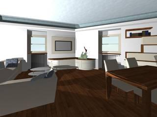 soggiorno con mobile tv e biocamino: Soggiorno in stile in stile Moderno di studio design d'interni Frigerio Lisa
