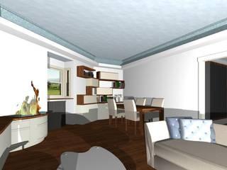 zon pranzo con mobile libreria contenitore: Soggiorno in stile in stile Moderno di studio design d'interni Frigerio Lisa