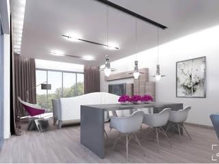 Przestrzeń dzienna - jadalnia, salon: styl , w kategorii Salon zaprojektowany przez ADV Design