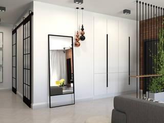 Mieszkanie 87 m2 Industrialny korytarz, przedpokój i schody od ADV Design Industrialny