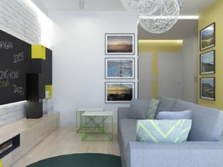 Mieszkanie 76 m2 Skandynawski salon od ADV Design Skandynawski