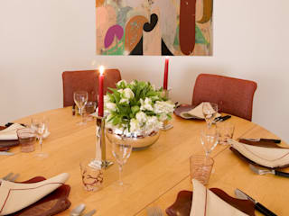 Dining Table and chairs, with contemporary painting behind.:   by Meltons