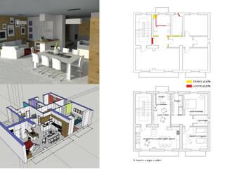 Ristrutturazione appartamento: Sala da pranzo in stile  di Poligonilab
