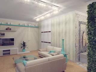现代客厅設計點子、靈感 & 圖片 根據 Студия дизайна интерьера 'Золотое сечение' 現代風