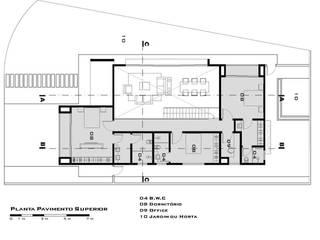 Planta do pavimento superior de Tony Santos Arquitetura