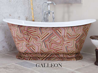 Galleon Cast Iron Bath Clad in Andrew Martin Vita Multi Fabric: classic Bathroom by Hurlingham Baths