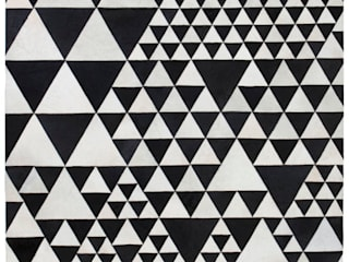 WovenGround Pyramid hand made leather rug in white-black:   by WovenGround