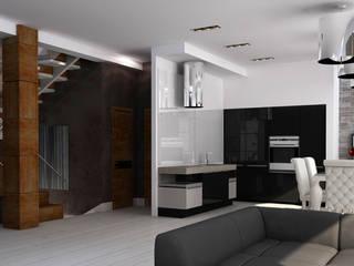 Интерьер дома с витражным остеклением: Гостиная в . Автор – Quality Metric