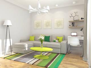 Небольшая квартира для молодой семьи Гостиная в стиле минимализм от Осташкина Галина Минимализм