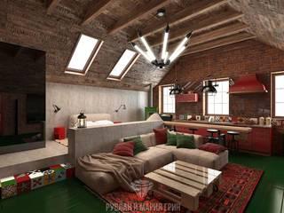 Salas de estilo industrial de Студия дизайна интерьера Руслана и Марии Грин Industrial