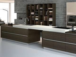 Handleless Finn Walnut Kitchen: modern Kitchen by Belvoir Interiors Ltd