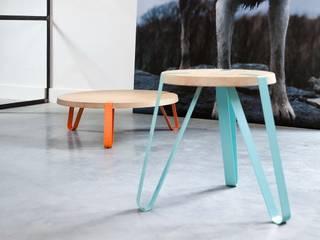 Level Cyaan en Oranje - Ø70cm - Hoogte 23cm + Ø40cm - Hoogte 45cm:   door DesignStudioVandaag