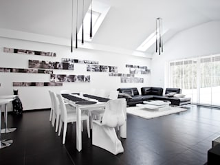 Wnętrze Black and White Nowoczesna jadalnia od KLIFF DESIGN Nowoczesny