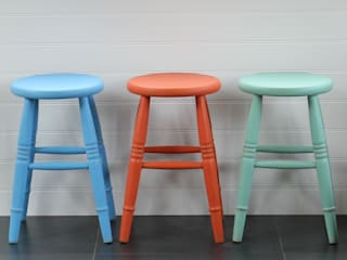 Hand Painted Low Stool:   by Rectory Blue