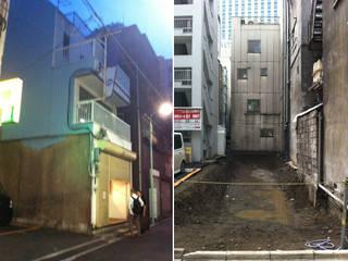 リニューアル前(左)|解体・整地後(右): 前見建築計画一級建築士事務所(Fuminori MAEMI architect office)が手掛けたです。