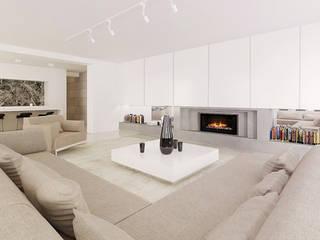 Dom w Żukowie Minimalistyczny salon od Ajot pracownia projektowa Minimalistyczny