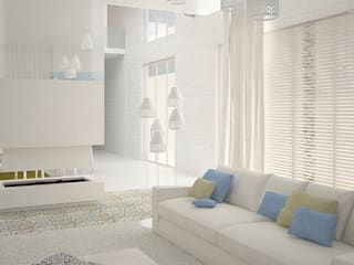 Гостиная в Скандинавском стиле с элементами востока Гостиная в скандинавском стиле от DS Fresco Скандинавский