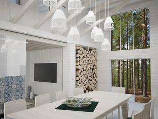 Гостиная в Скандинавском стиле с элементами востока Столовая комната в скандинавском стиле от DS Fresco Скандинавский