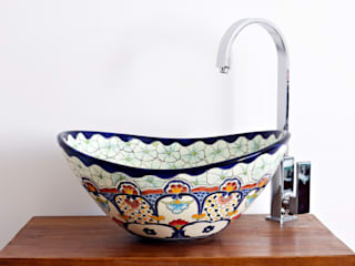 Bunte Waschschale CANCUN aus Mexiko - MEX 7 oval von Mexambiente e.K. Tropisch