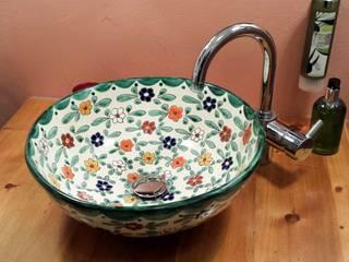 Aufsatzwaschbecken aus Mexiko mit Floralem Muster / MEX 3 Floral:  Badezimmer von Mexambiente e.K.