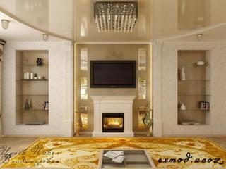 Дизайн и фото ремонта реализованной гостиной с панорамной фреской Гостиная в классическом стиле от Цунёв_Дизайн. Студия интерьерных решений. Классический